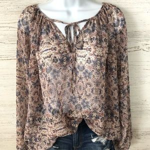 CAbi Sheer Floral Boho balloon sleeve blouse